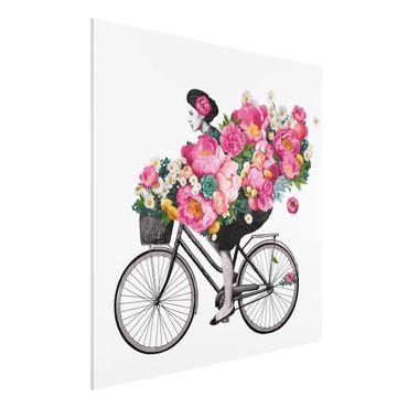 Forex Fine Art Print - Illustration Frau auf Fahrrad Collage bunte Blumen - Quadrat 1:1