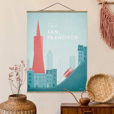 Stoffbild mit Posterleisten - Reiseposter - San Francisco - Hochformat 4:3