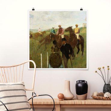 Poster - Edgar Degas - Jockeys auf Rennbahn - Quadrat 1:1