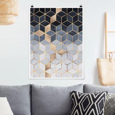 Poster - Blau Weiß goldene Geometrie - Hochformat 4:3