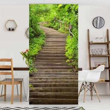 Raumteiler - Treppenaufstieg im Wald 250x120cm