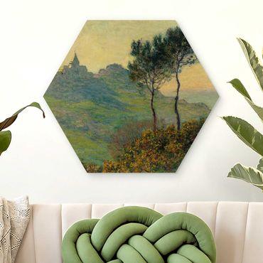 Hexagon Bild Holz - Claude Monet - Varengeville Abendsonne