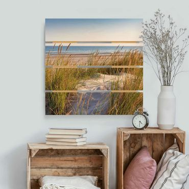 Holzbild - Stranddüne am Meer - Quadrat 1:1