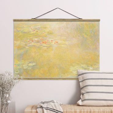 Stoffbild mit Posterleisten - Claude Monet - Seerosenteich - Querformat 3:2