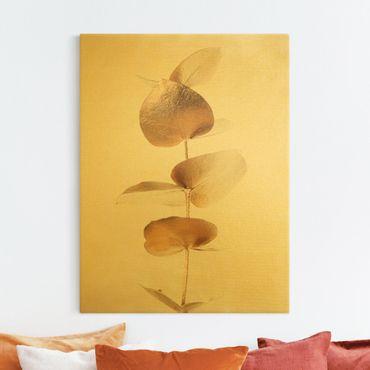 Leinwandbild Gold - Goldener Eukalyptuszweig - Hochformat 3:4