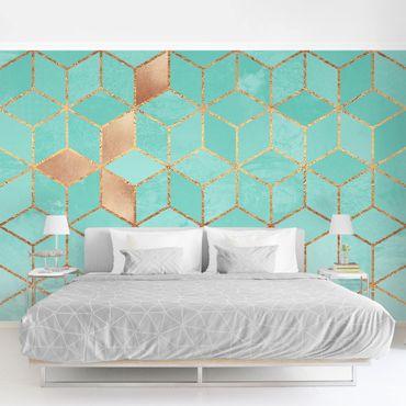 Fototapete - Türkis Weiß goldene Geometrie - Fototapete Quadrat