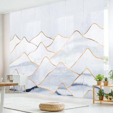 Schiebegardinen Set - Elisabeth Fredriksson - Aquarell Berge Weiß Gold - 6 Flächenvorhänge