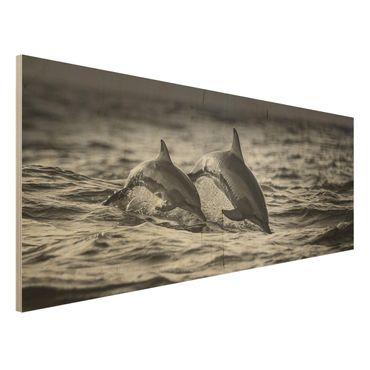 Holzbild - Zwei springende Delfine - Panorama