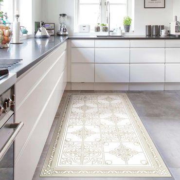 Vinyl-Teppich - Florales Fliesenmuster Sand mit Bordüre - Hochformat 1:2