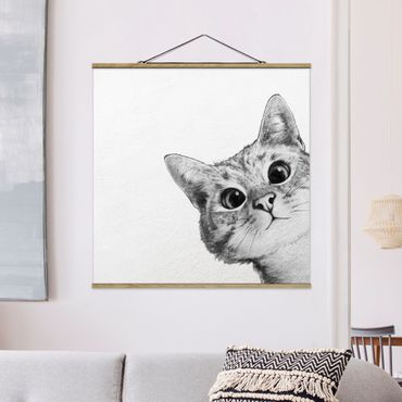 Stoffbild mit Posterleisten - Laura Graves - Illustration Katze Zeichnung Schwarz Weiß - Quadrat 1:1