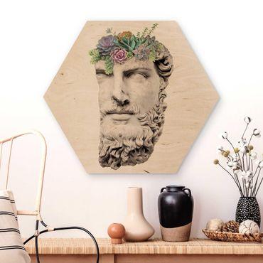 Hexagon Bild Holz - Jonas Loose - Kopf mit Sukkulenten