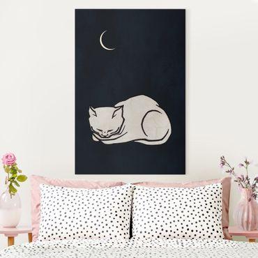 Leinwandbild - Schlafende Katze Illustration - Hochformat 3:2