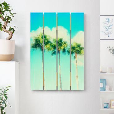 Holzbild - Palmen vor Himmel Blau - Hochformat 3:2