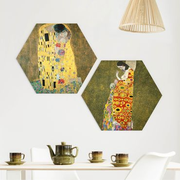 Hexagon Bild Forex 2-teilig - Gustav Klimt - Kuss und Hoffnung