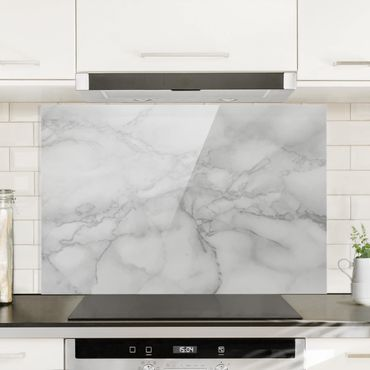 Spritzschutz Glas - Marmoroptik Schwarz Weiß - Querformat - 3:2
