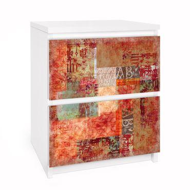 Möbelfolie für IKEA Malm Kommode - Selbstklebefolie Schriftmuster