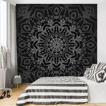 Fototapete - Mandala Blüte Muster silber schwarz - Fototapete Breit