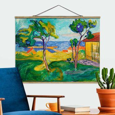 Stoffbild mit Posterleisten - Edvard Munch - Der Garten - Querformat 3:4