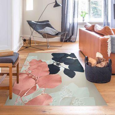 Vinyl-Teppich - Blätter Indigo & Rouge II - Hochformat 2:3