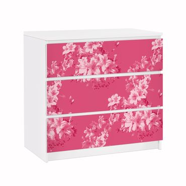 Möbelfolie für IKEA Malm Kommode - Klebefolie Antikes Blumenmuster