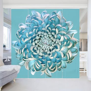 Schiebegardinen Set - Blaue Chrysantheme - Flächenvorhänge