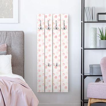 Wandgarderobe Holz - Aquarell Punkte Rosa - Haken chrom Hochformat