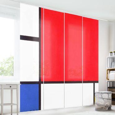 Schiebegardinen Set - Piet Mondrian - Komposition mit Rot, Blau und Gelb - Flächenvorhänge