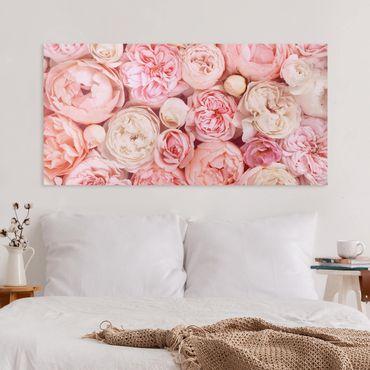 Leinwandbild - Rosen Rosé Koralle Shabby - Querformat 1:2