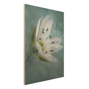 Holzbild - Weiße Blüte auf blau - Hochformat 4:3