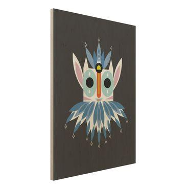 Holzbild - Collage Ethno Maske - Gnom - Hochformat 4:3