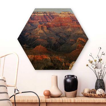Hexagon Bild Holz - Grand Canyon nach dem Sonnenuntergang