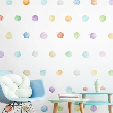 Wandtattoo - Punkte Aquarell Set Pastell Bunt