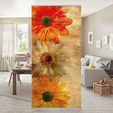 Raumteiler - Vintage Flowermix 250x120cm