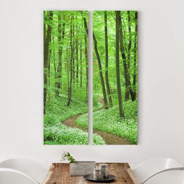 Leinwandbild 2-teilig - Romantischer Waldweg - Panoramen hoch 1:3