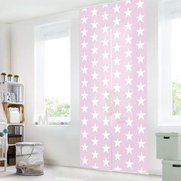 Schiebegardinen Set - Weiße Sterne auf Rosa - Flächenvorhänge