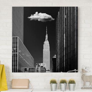 Leinwandbild - New York mit einzelner Wolke - Quadrat 1:1