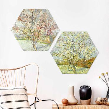Hexagon Bild Forex 2-teilig - Vincent van Gogh - Blühende Pfirsichbäume im Garten
