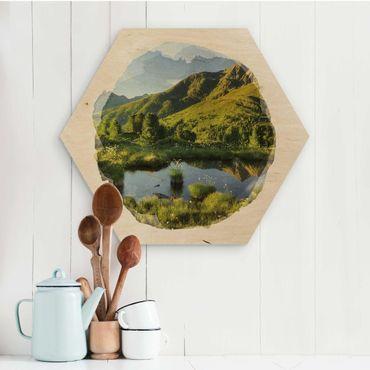 Hexagon Bild Holz - Wasserfarben - Blick vom Hirschbichl ins Defereggental
