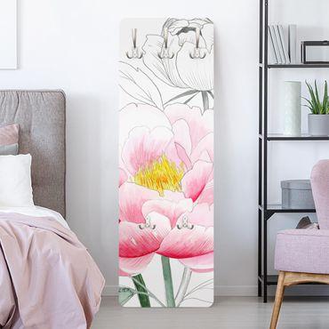 Garderobe - Zeichnung Rosa Päonien I
