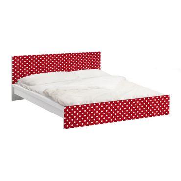 Möbelfolie für IKEA Malm Bett niedrig 140x200cm - Klebefolie No.DS92 Punktdesign Girly Rot