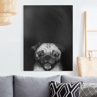 Leinwandbild - Illustration Hund Mops Malerei auf Schwarz Weiß - Hochformat 4:3