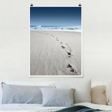 Poster - Spuren im Sand - Hochformat 3:4