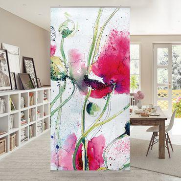 Raumteiler - Painted Poppies 250x120cm