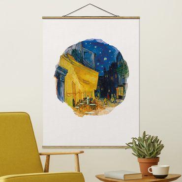 Stoffbild mit Posterleisten - Wasserfarben - Vincent van Gogh - Café-Terrasse in Arles - Hochformat 4:3