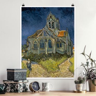 Poster - Vincent van Gogh - Kirche Auvers-sur-Oise - Hochformat 3:4