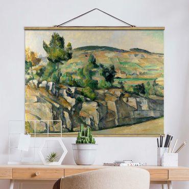 Stoffbild mit Posterleisten - Paul Cézanne - Hügelige Landschaft - Querformat 3:4