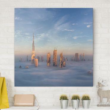 Leinwandbild - Dubai über den Wolken - Quadrat 1:1