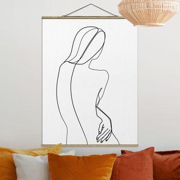Stoffbild mit Posterleisten - Line Art Rücken Frau Schwarz Weiß - Hochformat 4:3