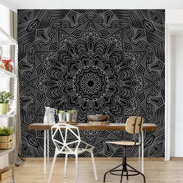 Fototapete - Mandala Stern Muster silber schwarz - Fototapete Breit