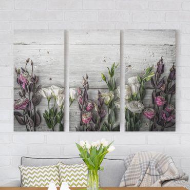 Leinwandbild 3-teilig - Tulpen-Rose Shabby Holzoptik - Hoch 1:2